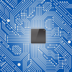 High tech electronic circuit board on blue background