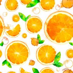 Orange seamless patterns of sliced fruit