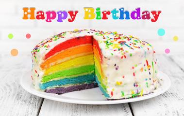 Birthday postcard.Delicious rainbow cake