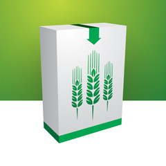 White box with green grain
