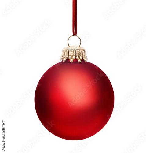 rote weihnachtskugel mit band stockfotos und lizenzfreie bilder auf bild 68841047. Black Bedroom Furniture Sets. Home Design Ideas