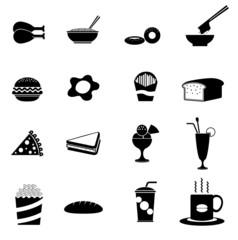 16 Black fast food icons