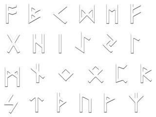 embossed runes illustration on white