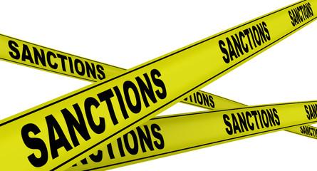 Санкции (sanctions). Желтая оградительная лента Wall mural
