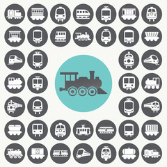Train icons set. Illustration eps10
