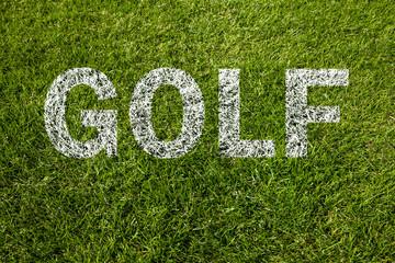 golf text auf rasen