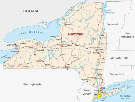 Straßenkarte des US-Bundesstaates New York