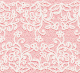 Seamless pink and white lace pattern.