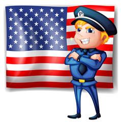 A police near the USA flag