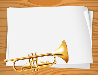 Empty bondpapers with a trombone