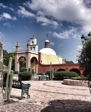 Mexican hacienda and church