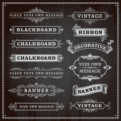 Vintage design elements - banners, frames and ribbons, chalkboar