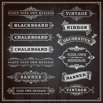 Vintage design elements - banners, frames and ribbons, chalkboar
