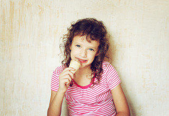 cute kid eating ice cream