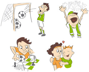 Football soccer funny caricatures - fair-play, strategy, fans