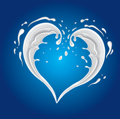 Vector milk splash in shape of heart