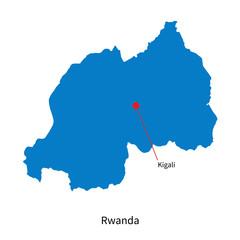 Detailed vector map of Rwanda and capital city Kigali