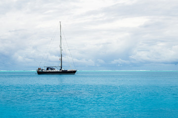 Lone boat in the ocean