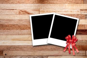 photo frames on wood background