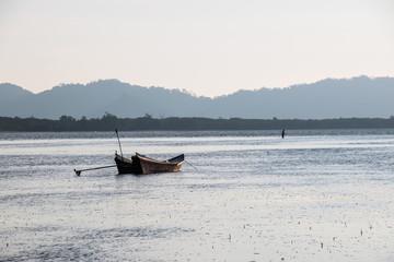 Fishing boat on sea,Silhouette