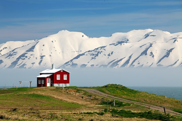 Wall Mural - Iceland  landscape. Fjord Eyjafjordur, house, mountains