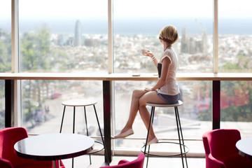 Cafe girl in Barcelona