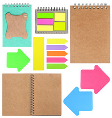 ring books, memos, tags, note papers and stickers