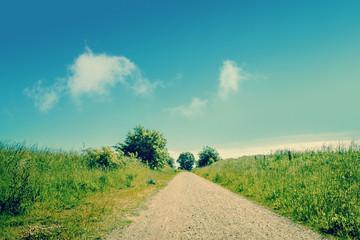 Beautiful nature path and blue sky