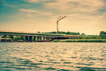 Bridge construction by the lake