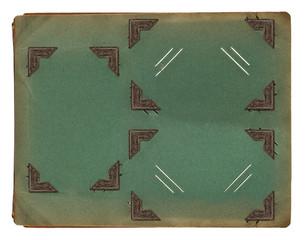page of vintage photo album with corner frames