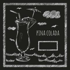 Cocktail pina colada on a blackboard menyu.kafe. bar.