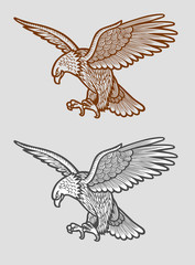 Eagle sketch with geometric lines decoration