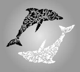 Dolphin yin yang floral ornament decoration