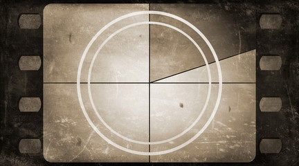 Grunge film frame background with vintage movie countdown