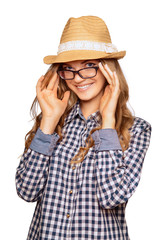 Portrait of a cute young woman wearing retro clothes, hat  and r