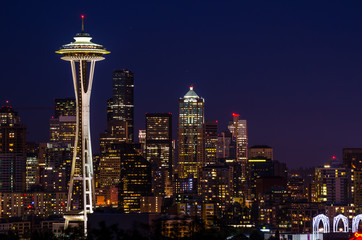 Seattle Skyline at Night Wall mural