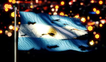 Argentina National Flag Torn Burned War Freedom Night 3D