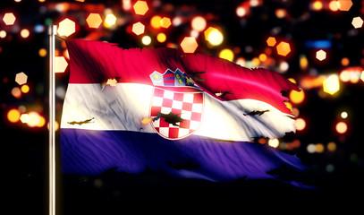 Croatia National Flag Torn Burned War Freedom Night 3D