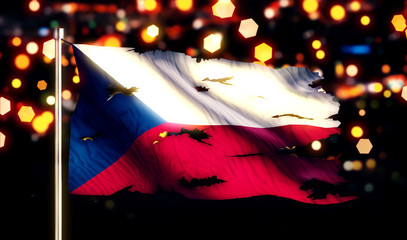 Czech Republic National Flag Torn Burned War Freedom Night 3D