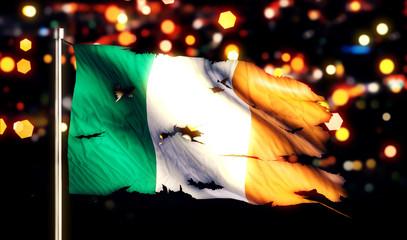 Ireland National Flag Torn Burned War Freedom Night 3D