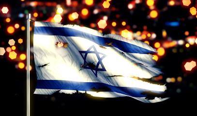 Israel National Flag Torn Burned War Freedom Night 3D