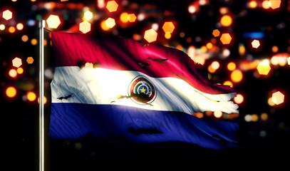 Paraguay National Flag Torn Burned War Freedom Night 3D