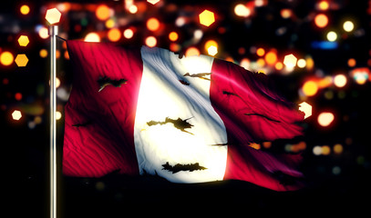 Peru National Flag Torn Burned War Freedom Night 3D