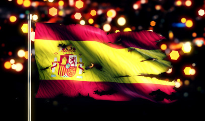 Spain National Flag Torn Burned War Freedom Night 3D