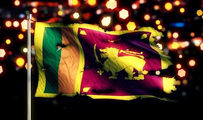 Sri Lanka National Flag Torn Burned War Freedom Night 3D