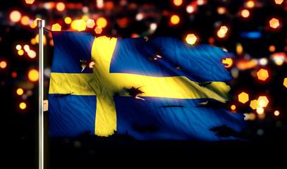 Sweden National Flag Torn Burned War Freedom Night 3D