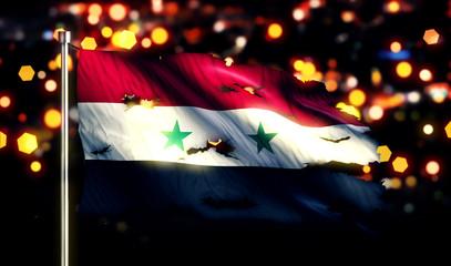Syria National Flag Torn Burned War Freedom Night 3D