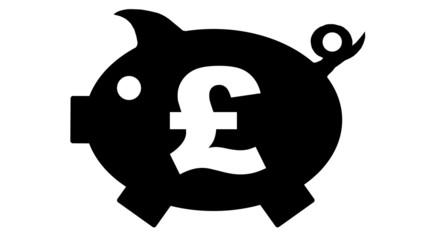button - piggy bank in black with pfund symbol - pfund1 - g1179