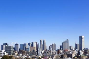[東京都市風景]快晴青空 新宿高層ビル群・全景イメージ 364