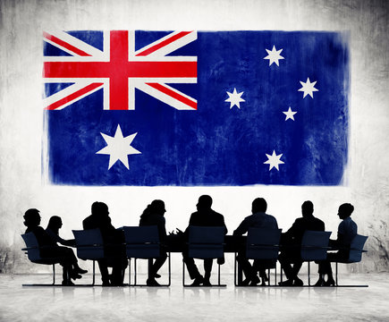 Silhouettes Group of People and a Flag of Australia